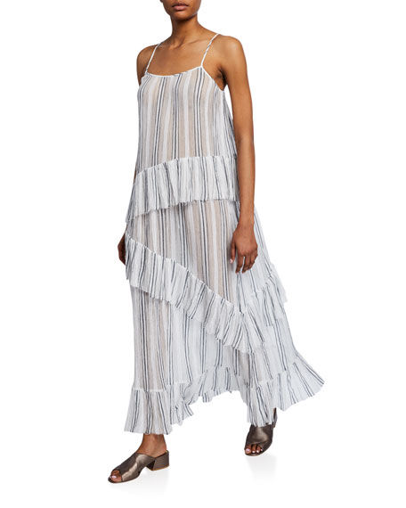 Image 1 of 2: ATM Anthony Thomas Melillo Striped Spaghetti-Strap Cotton Gauze Ruffle Maxi Dress