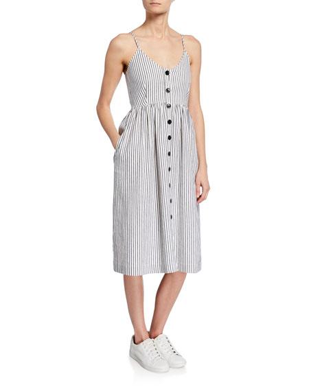 ATM Anthony Thomas Melillo Striped Button-Front Spaghetti-Strap Dress