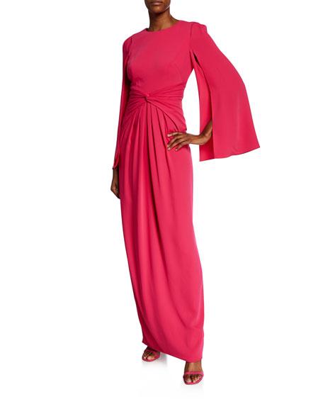 Theia Long Split-Sleeve Column Gown w/ Knot-Detail