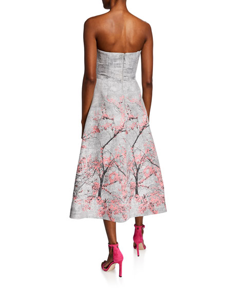 Theia Strapless Jacquard Midi Gown w/ Floral Placement