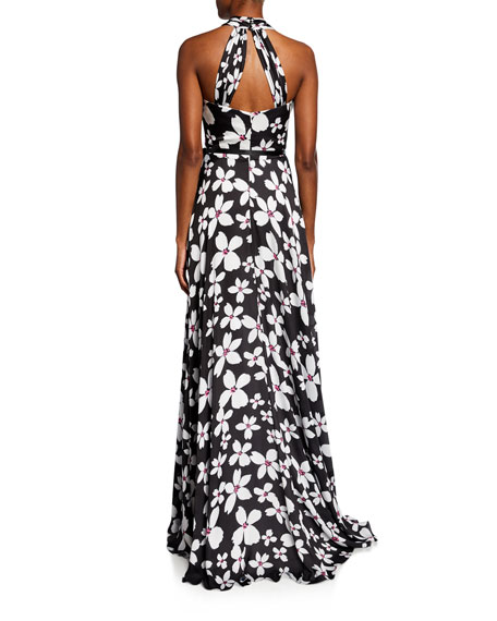 Theia Floral-Print Charmeuse Crisscross Halter Gown