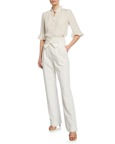 Image 3 of 3: Pinstripe Linen Belted Pants