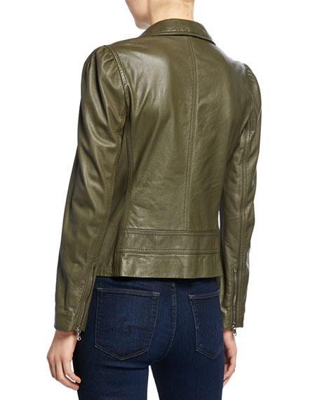 Rebecca Taylor Leather Biker Jacket with Puff Sleeves