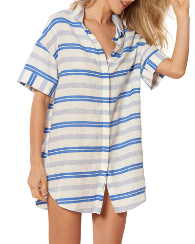 Natalie Striped Coverup Tunic