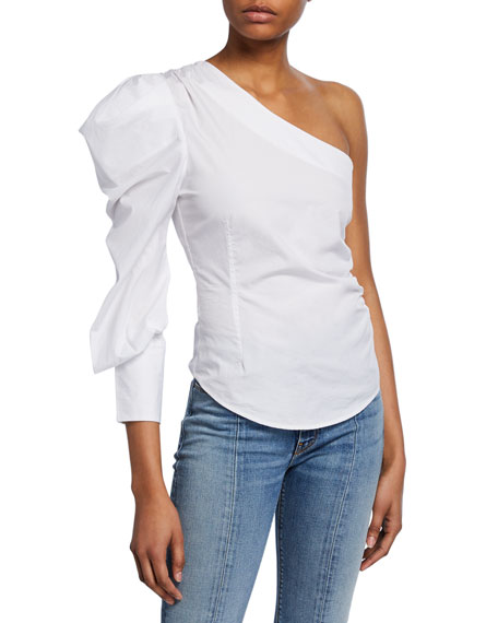 Jonathan Simkhai Ruched Oxford One-Shoulder Top