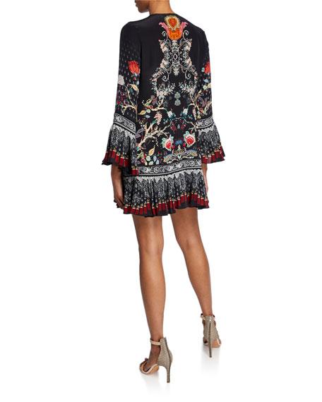 Camilla Floral Frill-Hem Tassel-Tie Mini Dress