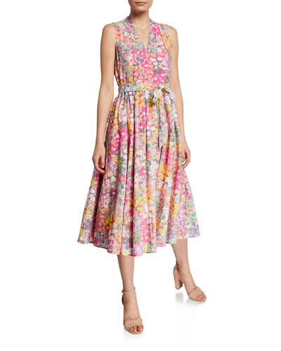 floral dots burnout sleeveless midi dress