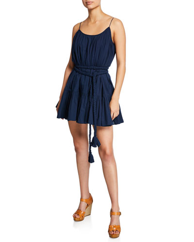 Nala Sleeveless Short Flounce Dress w/ Braided Belt