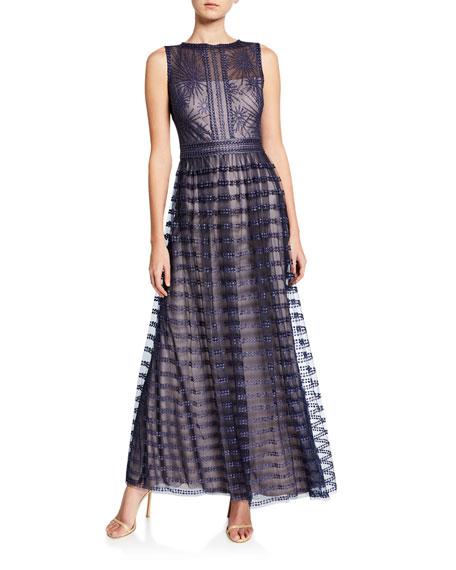 Tadashi Shoji Sleeveless Embellished Lace Gown