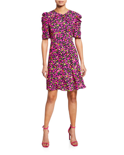 marker floral-print elbow-sleeve A-line dress