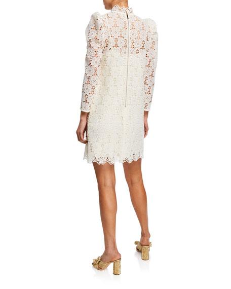 kate spade new york embellished floral-lace mock-neck bracelet-sleeve mini dress