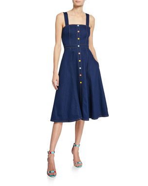 c847615f32 Shoshanna Olevia Button-Front Sleeveless Denim Dress