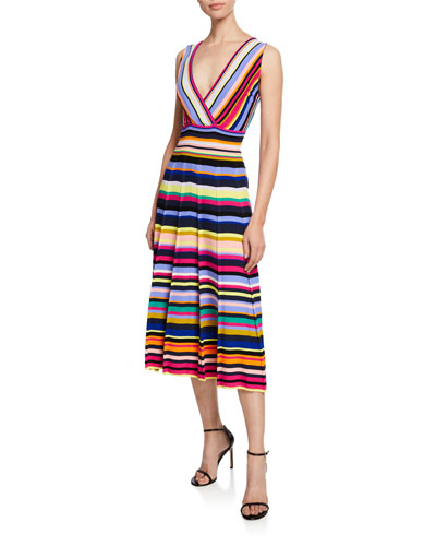 Plus Size Striped Surplice Fit-and-Flare Midi Dress