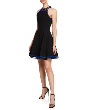 6ba81c3b6403 Milly Plus Size Diamond-Cut Halter-Neck Fit-and-Flare Mini Dress