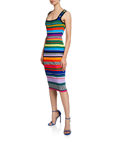 Plus Size Square-Neck Sleeveless Space-Dye %26 Rainbow Stripe Dress