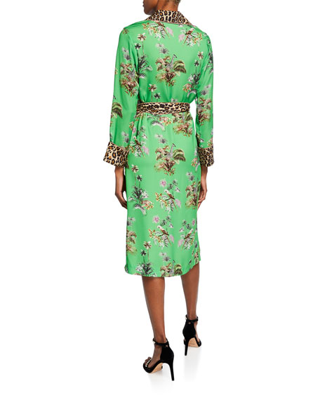Le Superbe Vacation Robe Floral & Leopard Print Tie-Waist Dress