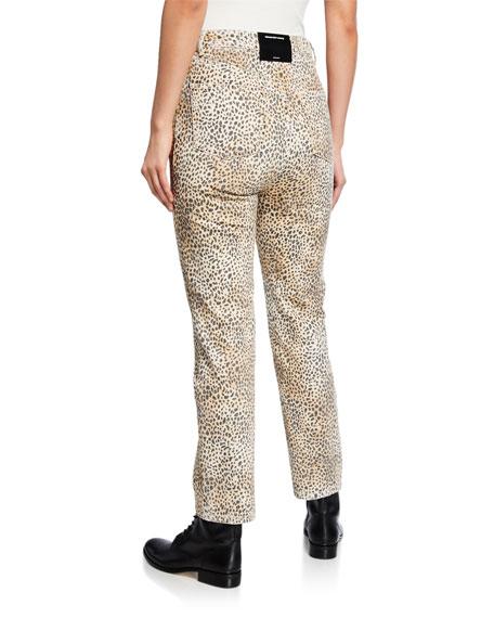 alexanderwang.t Cult Rise Micro Cheetah-Print Straight-Leg Jeans