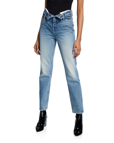 alexanderwang.t Cult High-Rise Straight Jeans w/ Flipped Waistband
