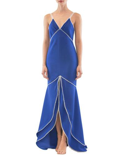 Strappy V-Neck Long Front-Slit Dress