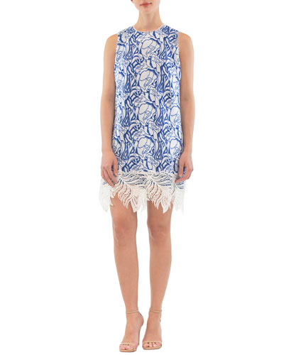 Sleeveless Lace-Hem Mini Dress