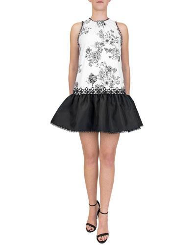 Ruffled Floral-Print Mini Dress