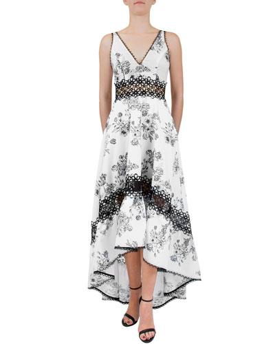 Strappy V-Neck Floral High-Low Dress