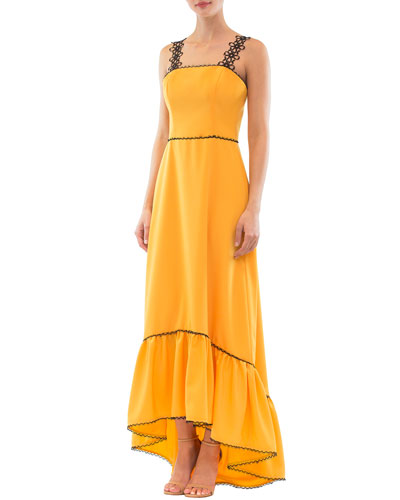 High-Low Ruffled Flower-Strap Dress