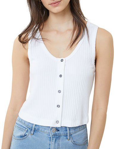 Dolly Button-Front Ribbed Crop Tank