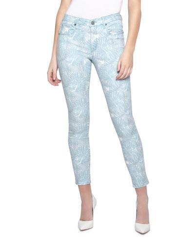 Ava Leaf-Print Cropped Skinny Jeans