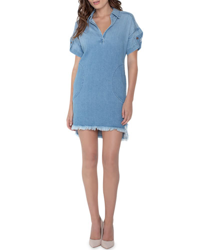 Pull-On Denim Shirtdress