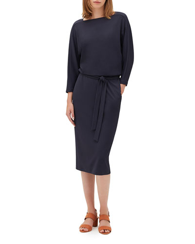 Daria Boat-Neck 3/4-Sleeve Midweight Matte Jersey Dress