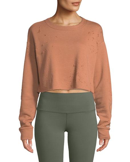 Alo Yoga Fierce Distressed Crewneck Cropped Pullover Sweatshirt