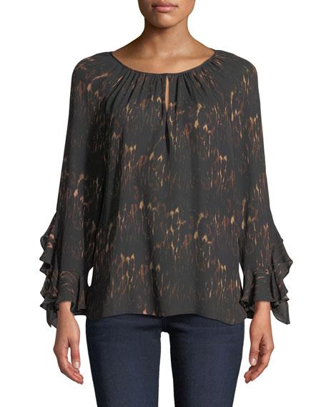 Kobi Halperin Lee Ruffle-Sleeve Blouse in Leopard-Print Silk
