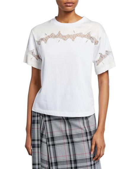 3.1 Phillip Lim Crewneck Short-Sleeve Lace-Inset T-Shirt