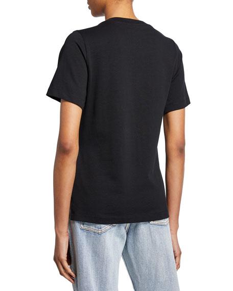 3.1 Phillip Lim Crewneck Short-Sleeve T-Shirt w/ Pearlescent Shoulder Detail