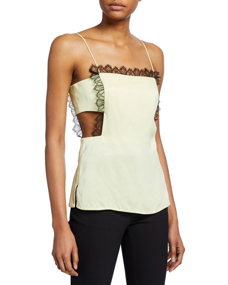 Image 1 of 2: 3.1 Phillip Lim Square-Neck Cutout Camisole with Lace Trim
