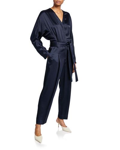 Satin Menswear Belted Jumpsuit