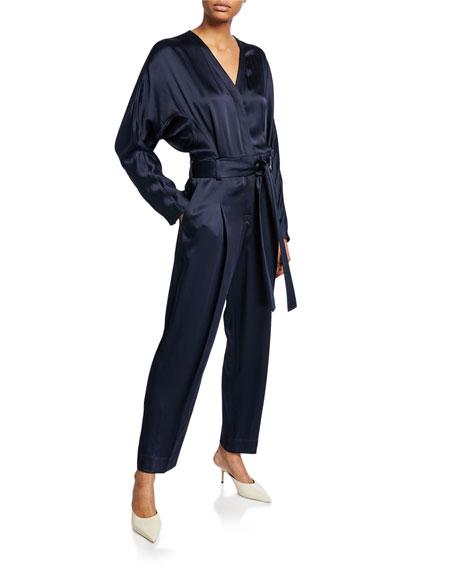 3.1 Phillip Lim Satin Menswear Belted Jumpsuit