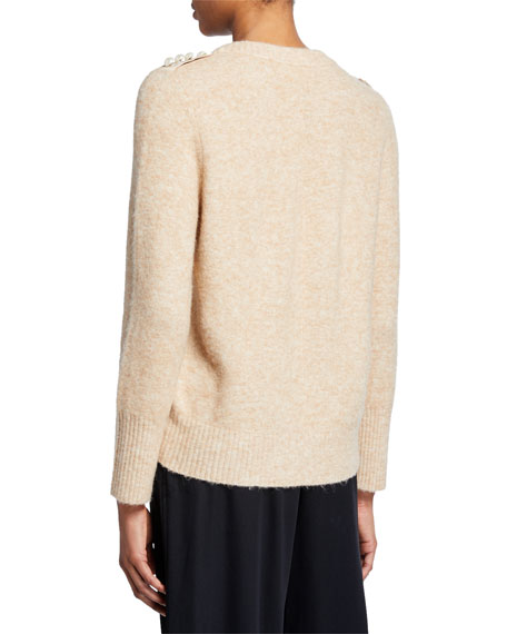 3.1 Phillip Lim Lofty Crewneck Sweater with Pearly Shoulder Detail