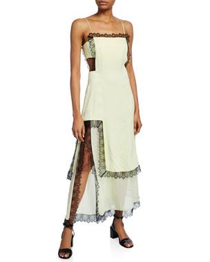 cde00f75b77 3.1 Phillip Lim Square-Neck Sleeveless Slit Dress with Lace   Cutouts