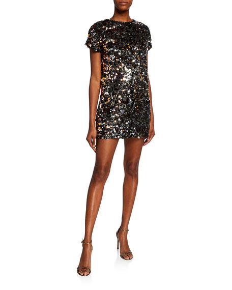 Aidan by Aidan Mattox Sequin Paillettes Cap-Sleeve Mini Dress