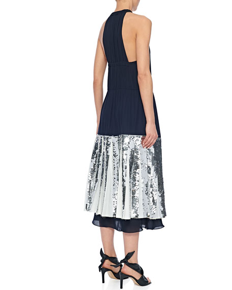 Tibi Layered Sequined Halter Dress