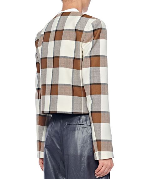 Tibi Cropped Check Structured Jacket