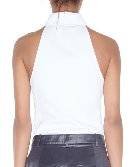 Tibi Sleeveless Zip-Up Scuba Top