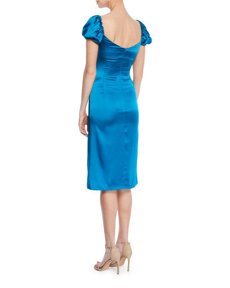 Image 2 of 2: Cadiz Sweetheart Puff-Sleeve Silk Satin Dress