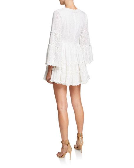 Alexis Norwa V-Neck Tiered Eyelet & Lace Mini Dress