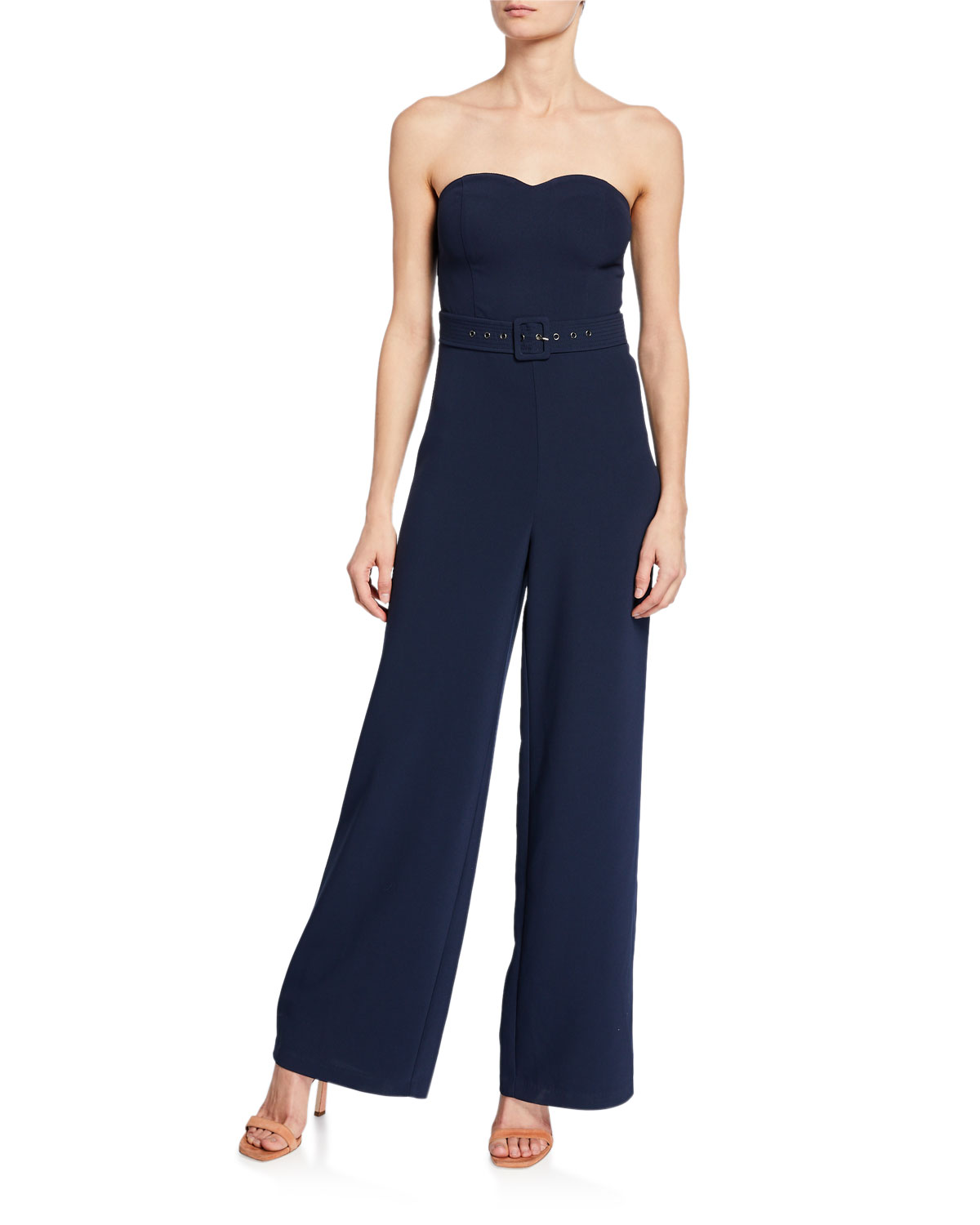 Devi Strapless Sweetheart Belted Jumpsuit by Likely