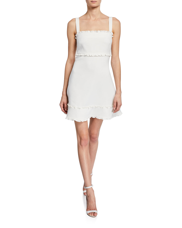 dd9499594c Katrina Square-Neck Sleeveless Mini Dress w/ Ruffle Trim