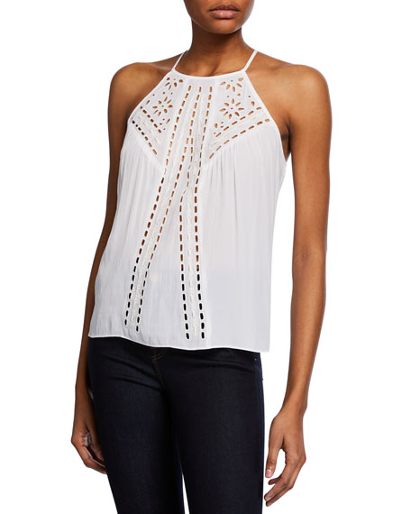 Ramy Brook Carolyn High-Neck Embroidered Top