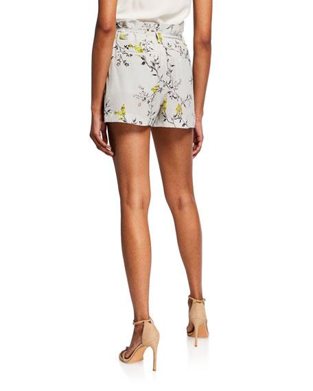 L'Agence Alex Floral Paperbag Shorts with Belt